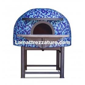 Forno a legna artigianale per pizzeria - Modello Mosaico AQUA - Camera interna 120x120 cm