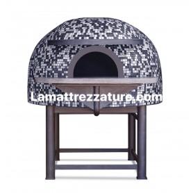 Forno a legna artigianale per pizzeria - Modello Mosaico ANTRACITE - Camera interna 80x80 cm
