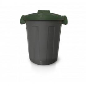 Bidone Dusty - 25 Litri - Con Coperchi e Maniglie - Grigio e Verde
