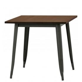 Tavolo da Interno - L80 x P80 x H75 cm - Struttura in metallo verniciato, piano in legno d'olmo