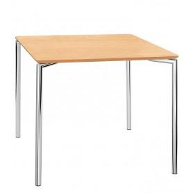 Tavolo da Interno - L70 x P70 x H76 cm - Struttura in metallo cromato, piano in MDF
