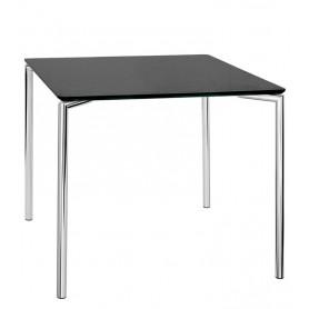 Tavolo da Interno - L80 x P80 x H76 cm - Struttura in metallo cromato, piano in MDF