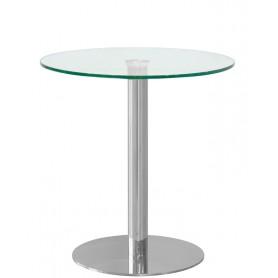Tavolo da Interno - Ø 70 x H 72 cm - Base in acciaio inox cromato, piano in vetro temperato, spessore 13 mm.