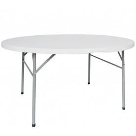 Tavolo da Interno - Ø 120 x H76 cm - Struttura pieghevole in metallo verniciato, piano pieghevole in polietilene