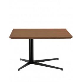 Tavolino - Struttura in metallo verniciato, piano in MDF impiallacciato noce - L80 x P80 x H47 cm