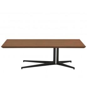 Tavolino - Struttura in metallo verniciato, piano in MDF impiallacciato noce - L120 x P60 x H35 cm