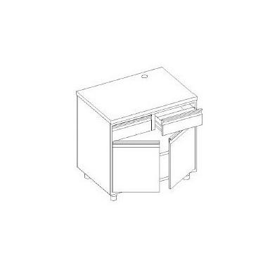 Retrobanco macchina caffè - cassetto battifondo e servizio - base con 2 porte battente e 1 ripiano
