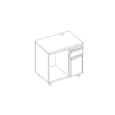 Retrobanco macchina caffè - base tramoggia battifondi e porta battente - base aperta scarichi pedana