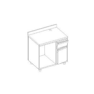 Retrobanco macchina caffè - con ALZATINA - base tramoggia battifondi e porta battente - base aperta scarichi pedana