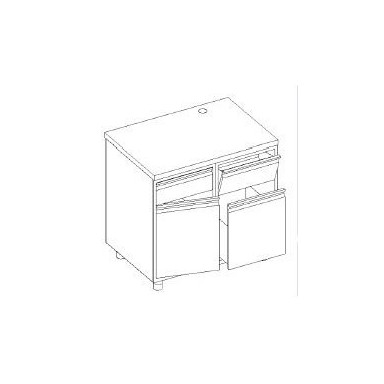Retrobanco macchina caffè - base tramoggia battifondi e madia su guide + bidone - base con cassetto e porta battente