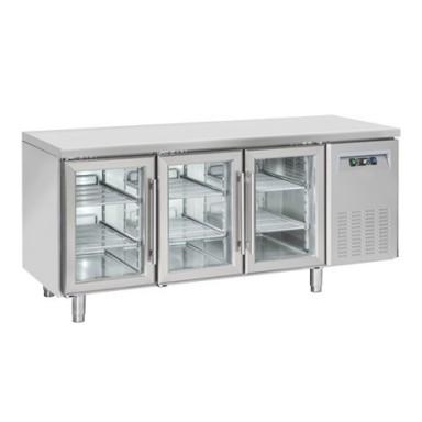 Tavoli Refrigerati INOX - Positivi - Profondità 70 - Porte a vetro - senza Alzatina