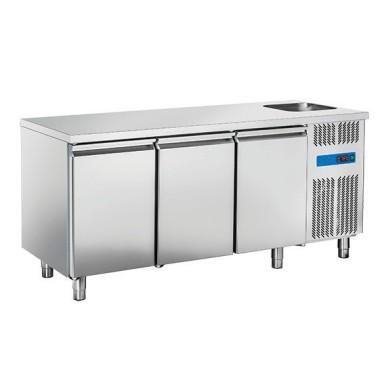 Tavoli Refrigerati INOX - Positivi - Profondità 70 - con Vasca senza Alzatina