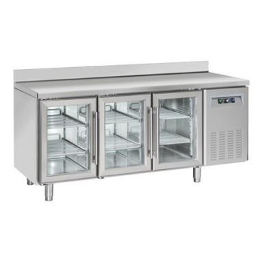Tavoli Refrigerati INOX - MOTORE REMOTO - Porte a Vetro - Positivi - Profondità 70 - Tropicalizzati Con Alzatina