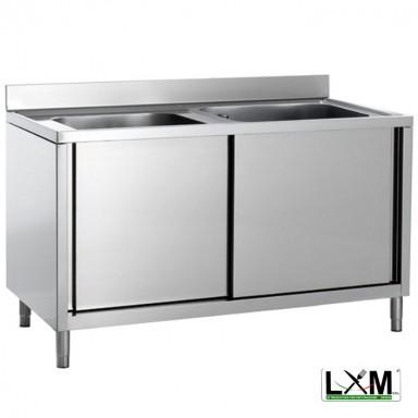 Lavatoio armadiato in acciaio inox con porte scorrevoli a 2 vasche prof. 60 o 70 cm