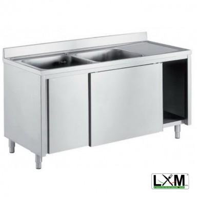 Lavatoio armadiato in acciaio inox con porte scorrevoli a 2 vasche e sgocciolatoio a destra prof. 60 o 70 cm