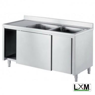 Lavatoio armadiato in acciaio inox con porte scorrevoli a 2 vasche e sgocciolatoio a sinistra prof. 60 o 70 cm