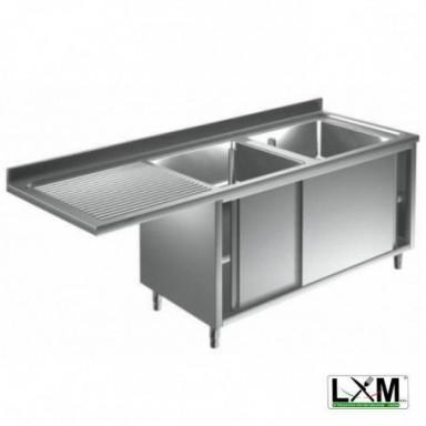 Lavatoio armadiato con porte scorrevoli in acciaio inox a 2 vasche,sgocc. a sinistra e vano lavastoviglie prof. 60 o 70 cm