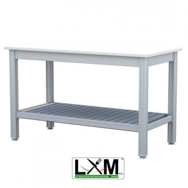 Tavolo da Lavoro - Con Ripiano Inferiore - Piano in Polietilene spessore 2.5 cm