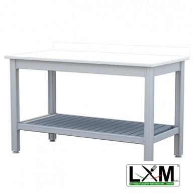 Tavolo da Lavoro - Con Ripiano Inferiore e Alzatina - Piano in Polietilene spessore 2.5 cm